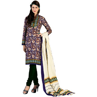 Drapes Green And Blue Dupion Silk Embroidered Salwar Suit Dress Material (Unstitched)