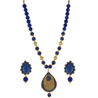 Nisa Pearls Blue Beaded Necklace Set With Embellished Locket