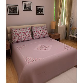 WonderKart Pink Cotton Floral Double Bedsheet with 2 pillow cover
