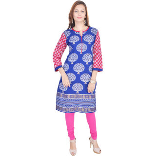 FabRajasthanUnique Arts 34th Sleeves Multi Cotton Kurti For Women