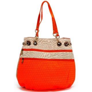 7b8dfe3b6f16 Ladies Jute Bags - Multiple Zipper Orange Handbag - Fancy Bag - By Stylocus