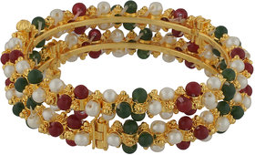 Nisa Pearls  Splendid Yellow Gold Bangles Encrusted With White Pearl Beads (24)