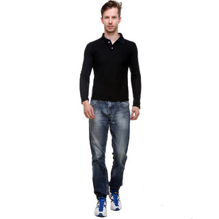 Grand Bear Men'S Full Sleeve Black  Polo T-Shirt