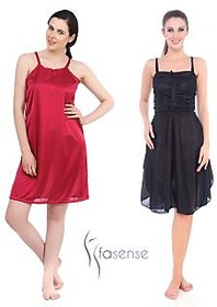 Fasense Women Satin Nightwear Sleepwear Combo Set of  2 Short Nighty DPCOM19L