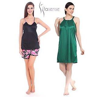 Fasense Women Satin Nightwear Sleepwear Combo Set of NightyTop  Shorts DPCOM20