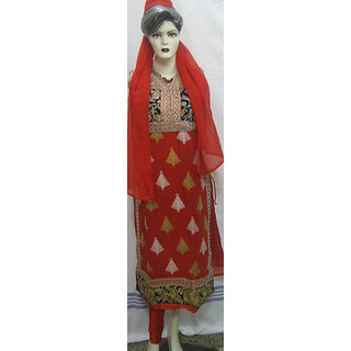 Georgette Red Fully Stitched Straight Zary Embroidered Suit with free accessory