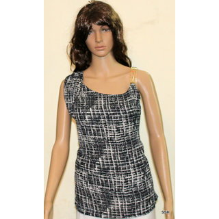 SSH Black printed Party Wear Sleeveless top
