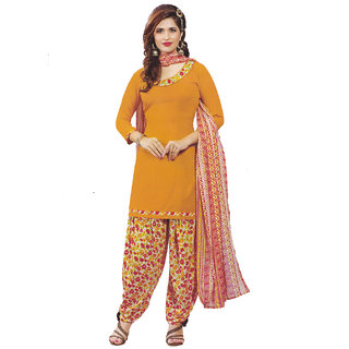 Women's Boni Crepe Musturd top and Printed Bottom Patiyala (Unstiched) Material