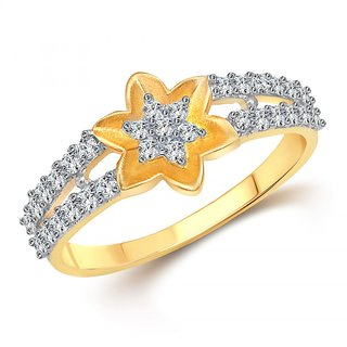 Vighnaharta Glowing Sun Flower (CZ) Gold and Rhodium Plated  Ring
