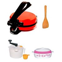 Matangi Red Stainless Steel Roti Maker + Dough Maker + Casserole