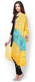 Rajasthani Bandhani  Yellow and Green  cotton  Dupatta Traditional Mirror work