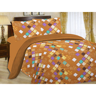 Enaakshi  Cotton Double Bedsheet Set Brown with 2 Pillow Covers