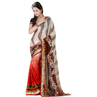 Lookslady Beige & Red Georgette Printed Saree With Blouse
