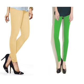 Combo Of Parrot Green  Skin Cotton Leggings