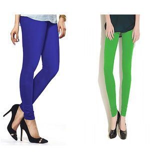 Combo Of Parrot Green  Royal Blue Cotton Leggings