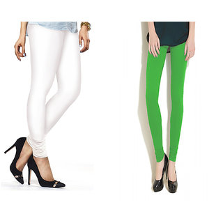 Combo Of Parrot Green  White Cotton Leggings