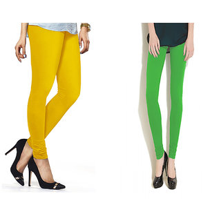 Combo Of Parrot Green  Yellow Cotton Leggings