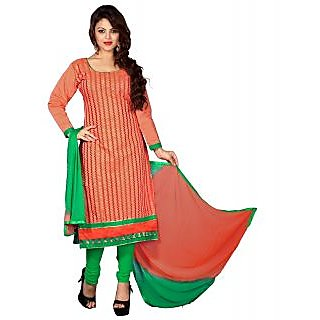 Lookslady Green And Peach Polycotton Embroidered Salwar Suit Dress Material (Unstitched)