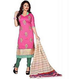 Lookslady Green And Pink Polycotton Embroidered Salwar Suit Dress Material (Unstitched)