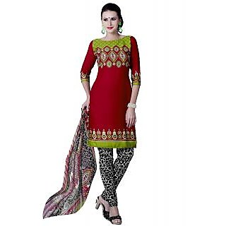 Lookslady Black And Red Georgette Embroidered Salwar Suit Dress Material (Unstitched)