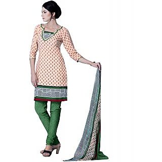 Lookslady Cream And Green Georgette Printed Salwar Suit Dress Material (Unstitched)