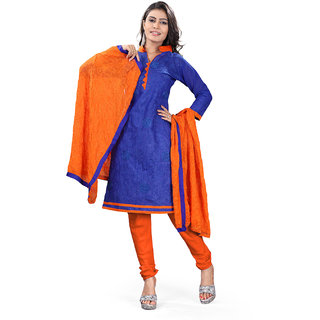Lookslady Orange And Blue Kota Embroidered Salwar Suit Dress Material (Unstitched)