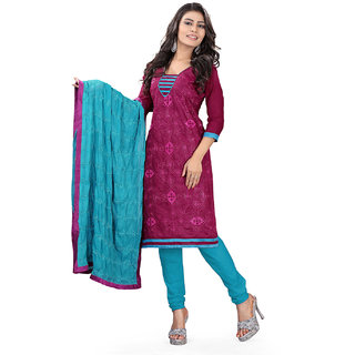 Lookslady Sky Blue And Maroon Kota Embroidered Salwar Suit Dress Material (Unstitched)