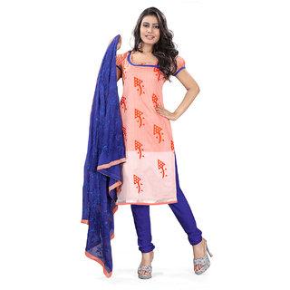 Lookslady Khaki Kota Lace Salwar Suit Dress Material (Unstitched)