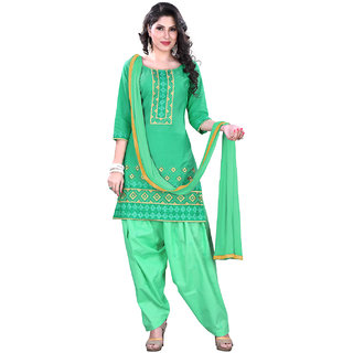 Lookslady Green Kota Embroidered Salwar Suit Dress Material (Unstitched)