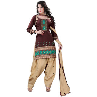 Lookslady Beige And Brown Kota Embroidered Salwar Suit Dress Material (Unstitched)