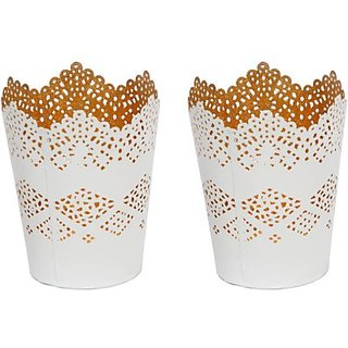 AnasaDecor White Etched Iron 2 Cup Candle Holder Set