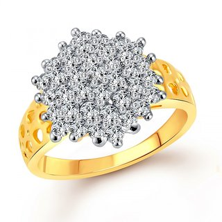 Vighnaharta Awesome Flora (CZ) Rhodium Plated  Ring
