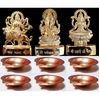 Gold Plated Laxmi Ganesh Durga with 6 Copper Diya