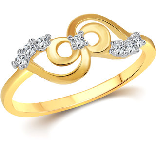 Vighnaharta Designer (CZ) Gold and Rhodium Plated  Ring