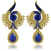 Traditional Ethnic Blue Peacock Dangler Earring with Crystal  Artificial Pearl for Women by Donna ER30021G
