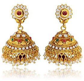 Traditional Ethnic Thumri Jhumki with Red Drop  Colored Crystal for Women by Donna ER30006G
