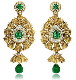 Traditional Ethnic Green Flame Dangler Earrings with Crystal for Women by Donna ER30012G