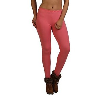 Frenchtrendz Light Coral Cotton Spandex Ankle Legging