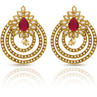 Traditional Ethnic Gold Plated Triple line circles Dangler Earrings with Crystal  Pearl For Women by Donna ER30046GPin