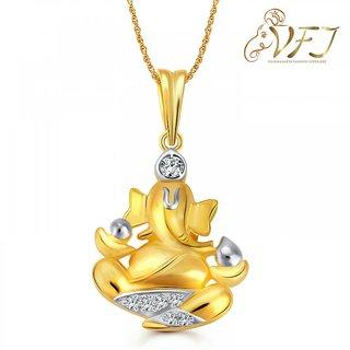 Vighnaharta Mangalmurti (CZ) Gold and Rhodium Plated Pendant