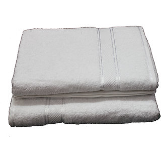 Marwal Plain White Cotton Bath Towels Set Of 2 Towels 2754  inch