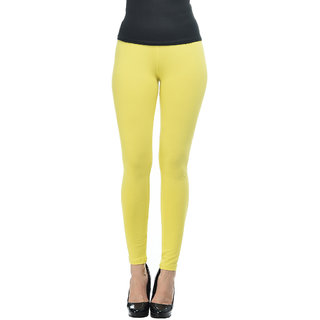 Frenchtrendz Yellow  Cotton Spandex Ankle Legging