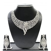 Zaveri Pearls Austrian Diamond Beautiful Flower Necklace Set-ZPFK1594