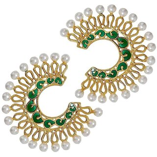 The Jewelbox Chaand Bali Filigree Gold Plated Green Meenakari Pearl Earring For Women