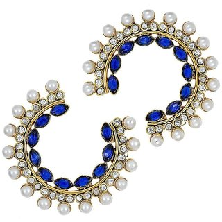 The Jewelbox Chaand Bali Marquise Gold Plated Blue Pearl Earring For Women