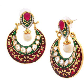 The Jewelbox Chaand Bali Kundan Pearl Green Maroon Meenakari Gold Plated Earring for Women