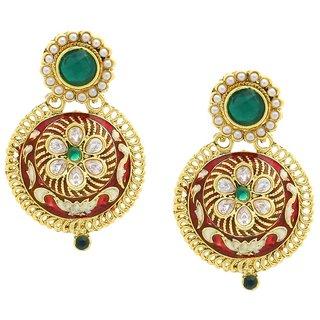 The Jewelbox Flower Kundan Emerald Green Red Meenakari Stud Earring for Women