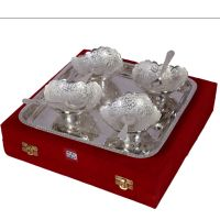 German Silver Set Of 4 Bowls With 4 Spoons And Tray 4538