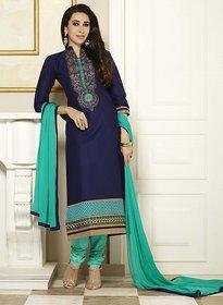 Kvsfab Black Dupion Silk Lace Salwar Suit Dress Material (Unstitched)
