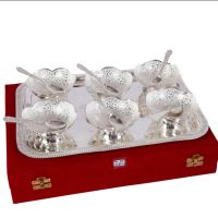 German Silver Set Of 6 Bowls With 6 Spoons And Tray 4552